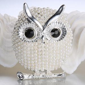 Faux Pearl Alloy Owl Brooch - White Golden