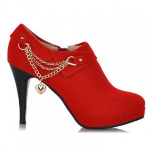 Fashionable Suede and Chain Design Women's Pumps -