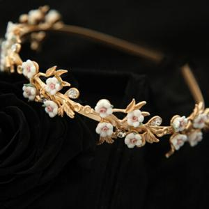 Retro Style Rhinestone and 3D Flower Embellished Hairband For Women - GOLDEN