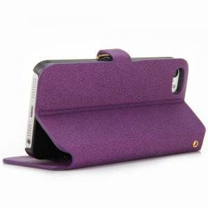 Magnetic Snap Design Full Body Case with PU Leather Material Credit Card Holder Stand for iPhone SE / 5 / 5S -