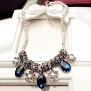 Retro Style Faux Crystal and Artificial Pearl Embellished Oval and Flower Pendant Necklace For Women
