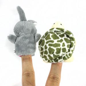 2Pcs Cute Doll Design Plush Toy Finger Puppets Telling Story Doll Props Rabbit + Turtle - AS THE PICTURE