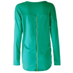 Casual Scoop Neck Solid Color Zipper Embellished Long Sleeves T-Shirt For Women - AS THE PICTURE L