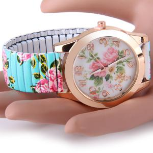 Female Peony Design Quartz Watch Analog Round Dial and Elastic Strap - GREEN