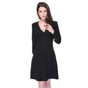 Fashionable Plunging Neck Long Sleeve Black Single-Breasted Women's Dress -