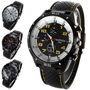 Weijieer 5020 Male Quartz Watch Round Dial Rubber Strap Non-functioning Sub-dials -