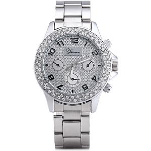 Geneva Diamond Decorative Sub-dials Quartz Watch Stainless Steel Band for Women - ROSE GOLD