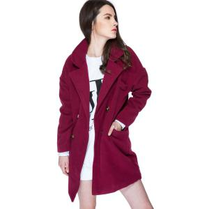 Stylish Lapel Neck Long Sleeve Solid Color Double-Breasted Loose-Fitting Women's Coat - WINE RED L