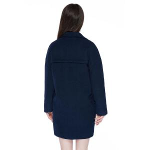 Stylish Lapel Neck Long Sleeve Solid Color Double-Breasted Loose-Fitting Women's Coat - PURPLISH BLUE XL