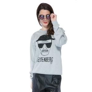 Casual Style Round Collar Long Sleeve Portrait and Letter Print Women's Sweatshirt