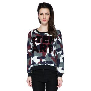 Stylish Scoop Collar Long Sleeve Letter and Camouflage Pattern Women's Sweatshirt