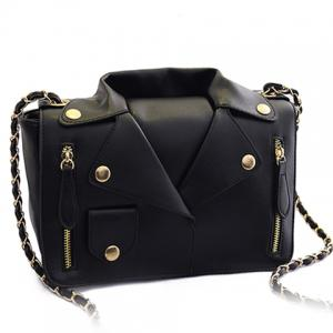 Retro Style Chain and Clothes Pattern Design Women's Crossbody Bag - Black