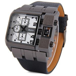 Oulm 3364 Male Quartz Watch with Square Dial Leather Watchband -
