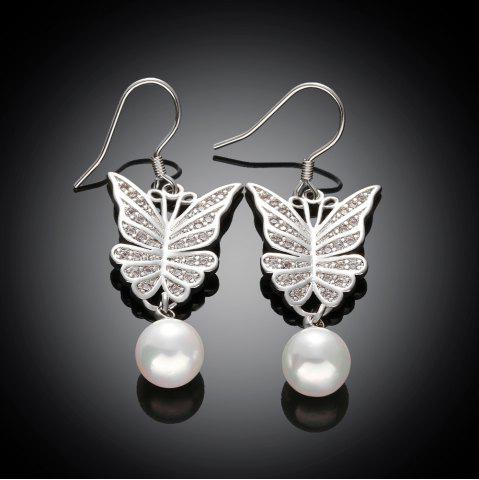 Hot Pair of Cute Women's Rhinestone Faux Pearl Embellished Butterfly Earrings