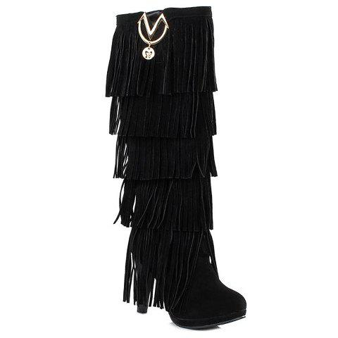 Cheap Trendy Suede and Fringe Design Women's Knee-High Boots