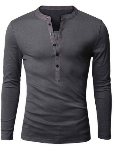 Chic Stylish V-Neck Slimming Button Design Fabric Splicing Long Sleeve Polyester Polo Shirt For Men DEEP GRAY M