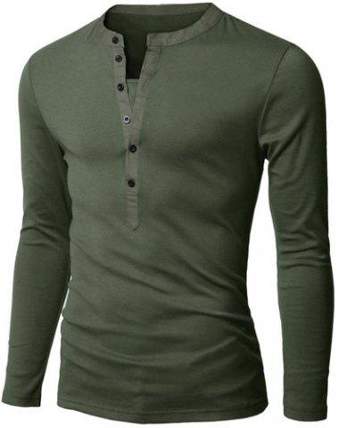 Affordable Stylish V-Neck Slimming Button Design Fabric Splicing Long Sleeve Polyester Polo Shirt For Men ARMY GREEN L