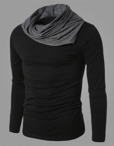 Hot Fashion Color Block Personality Heaps Collar Slimming Long Sleeves Men's Cotton Blend T-Shirt