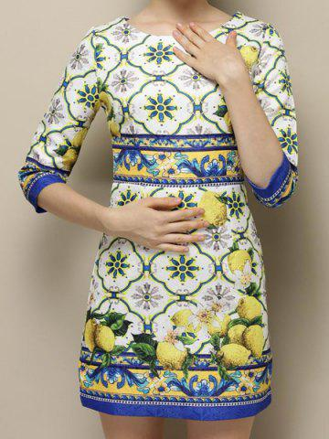 Best Vintage Jewel Neck 3/4 Sleeves Jacquard Print Dress For Women AS THE PICTURE L