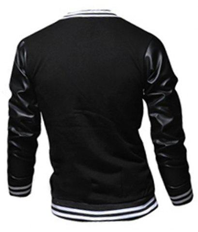 Sale Stylish Stand Collar Slimming Color Block PU Leather Splicing Long Sleeve Polyester Jacket For Men - XL BLACK Mobile