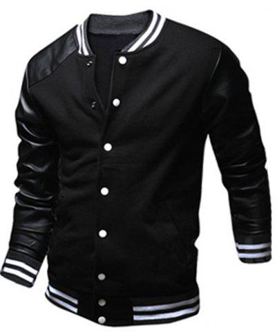 Shops Stylish Stand Collar Slimming Color Block PU Leather Splicing Long Sleeve Polyester Jacket For Men BLACK XL