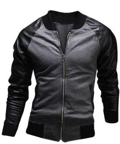 Cheap Stylish Stand Collar Slimming Pocket Design Fabric Splicing Long Sleeve Polyester Jacket For Men