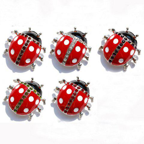 Chic Rhinestone Embellished Ladybird Brooch - COLOR ASSORTED  Mobile