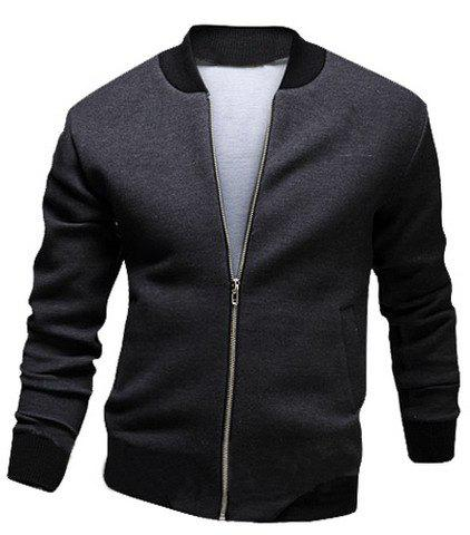 Unique Stylish Stand Collar Slimming Color Block Rib Splicing Long Sleeve Polyester Jacket For Men
