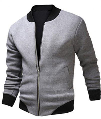 Stylish Stand Collar Slimming Color Block Rib Splicing Long Sleeve Polyester Jacket For Men - LIGHT GRAY M