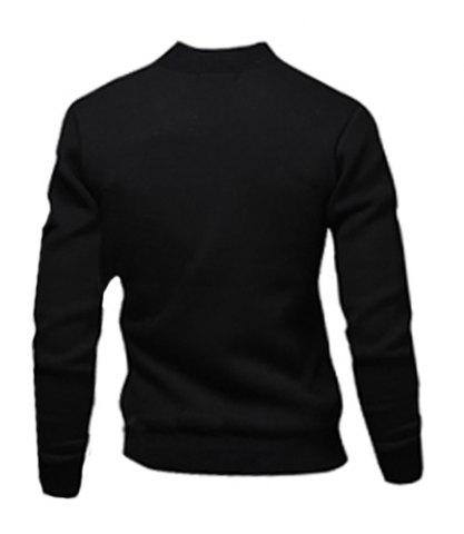 Store Stylish Stand Collar Slimming Color Block Rib Splicing Long Sleeve Polyester Jacket For Men - M BLACK Mobile