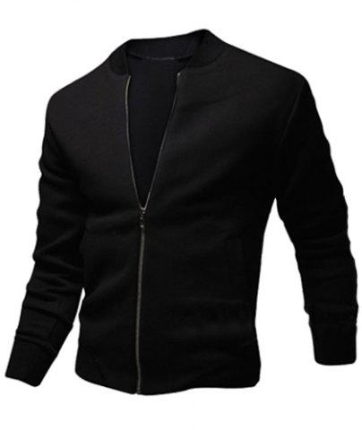 Fancy Stylish Stand Collar Slimming Color Block Rib Splicing Long Sleeve Polyester Jacket For Men - M BLACK Mobile