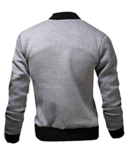 Outfits Stylish Stand Collar Slimming Color Block Rib Splicing Long Sleeve Polyester Jacket For Men - M LIGHT GRAY Mobile
