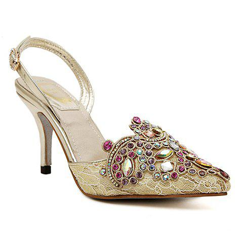 Chic Gorgeous Rhinestones and Lace Design Women's Pumps