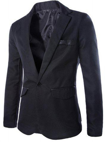 Latest Stylish Lapel Slimming One Button PU Leather Splicing Long Sleeve Polyester Blazer For Men