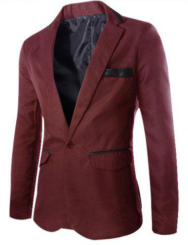 Store Stylish Lapel Slimming One Button PU Leather Splicing Long Sleeve Polyester Blazer For Men WINE RED XL