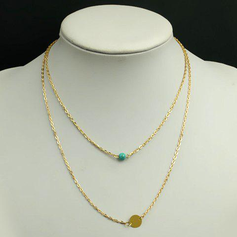 Sale Simple Design Turquoise Embellished Pendant Double-Layer Necklace For Women