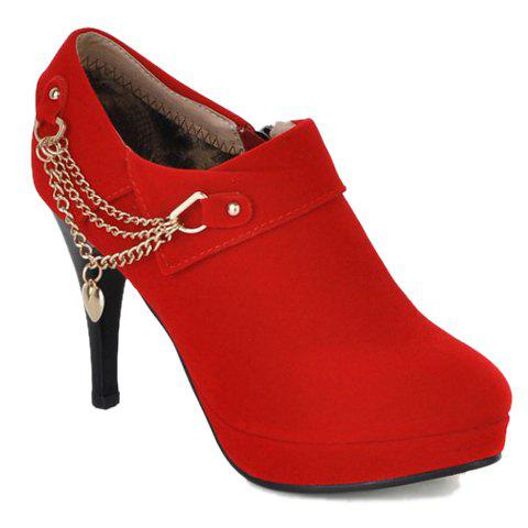 Latest Fashionable Suede and Chain Design Women's Pumps