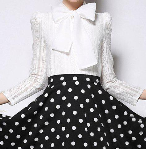 Store Vintage Bow Collar Long Sleeves White Blouse For Women