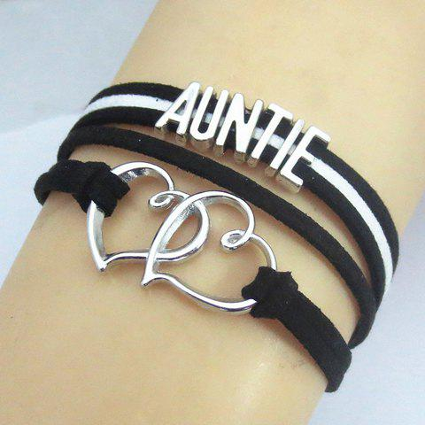 Shop Heart Openwork Letter Bracelet - SILVER AND BLACK  Mobile