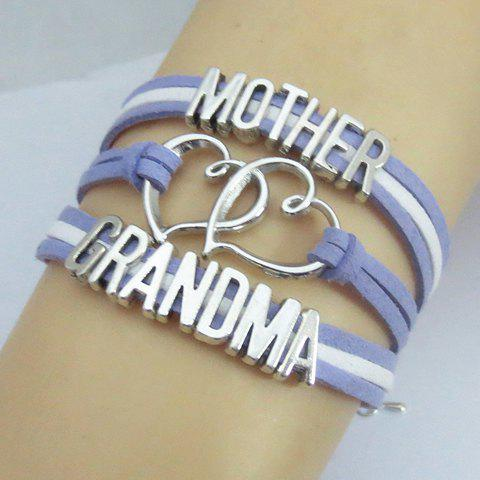 Shops Openwork Heart Letter Bracelet - PURPLE  Mobile
