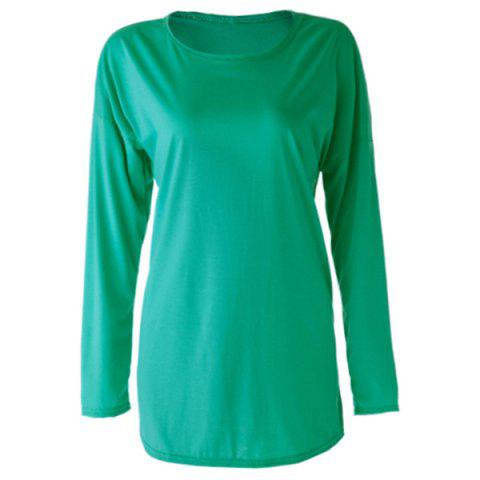 Buy Long Zipper Embellished Long Sleeves T-Shirt AS THE PICTURE L