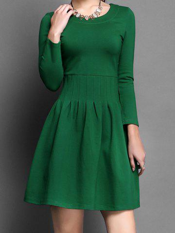 Discount Vintage Scoop Neck Long Sleeves Solid Color A-Line Dress For Women