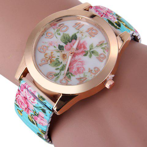 Store Female Peony Design Quartz Watch Analog Round Dial and Elastic Strap GREEN