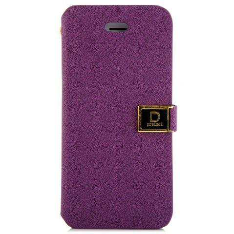 Store Magnetic Snap Design Full Body Case with PU Leather Material Credit Card Holder Stand for iPhone SE / 5 / 5S - PURPLE  Mobile