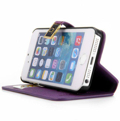 Fashion Magnetic Snap Design Full Body Case with PU Leather Material Credit Card Holder Stand for iPhone SE / 5 / 5S - PURPLE  Mobile