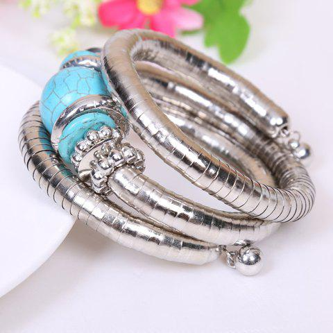 Trendy Retro Style Kallaite Embellished Multi-Layer Coiler Bracelet - SILVER AND BLUE  Mobile