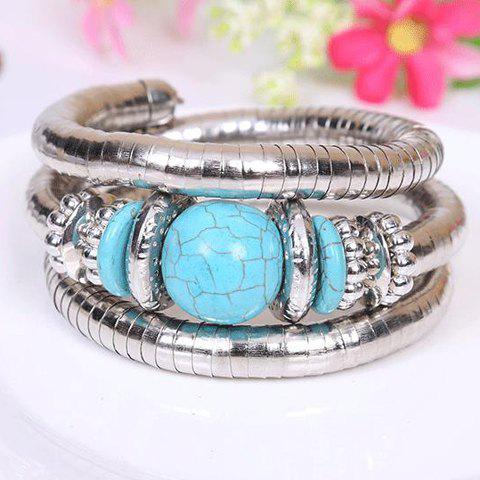 New Retro Style Kallaite Embellished Multi-Layer Coiler Bracelet - SILVER AND BLUE  Mobile