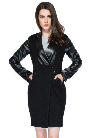 Buy Trendy Style V-Neck Long Sleeve Faux Leather Splicing Women's Coat