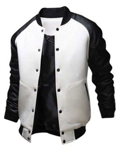 Stylish Stand Collar Slimming Large Pocket Color Splicing Long Sleeve Polyester Jacket For Men - White - 2xl