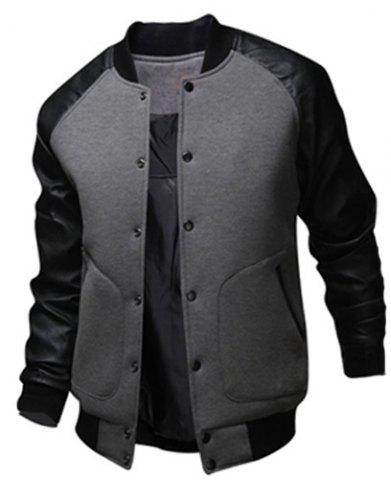 Stylish Stand Collar Slimming Large Pocket Color Splicing Long Sleeve Polyester Jacket For Men